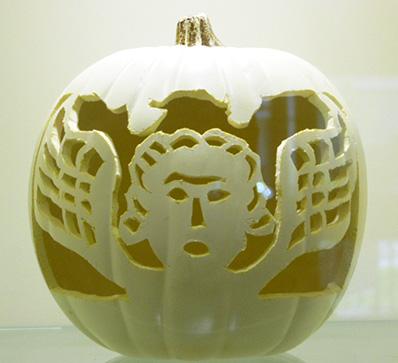 gravestone carved pumpkin